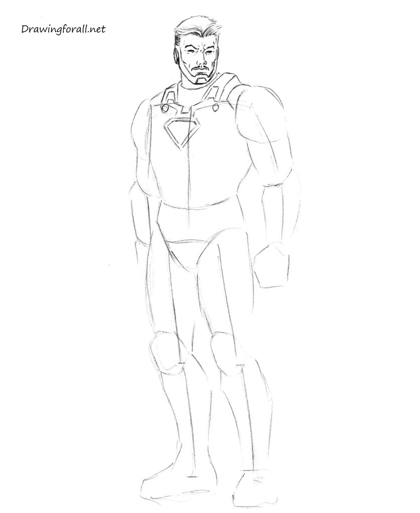 how to draw iron man by pencil