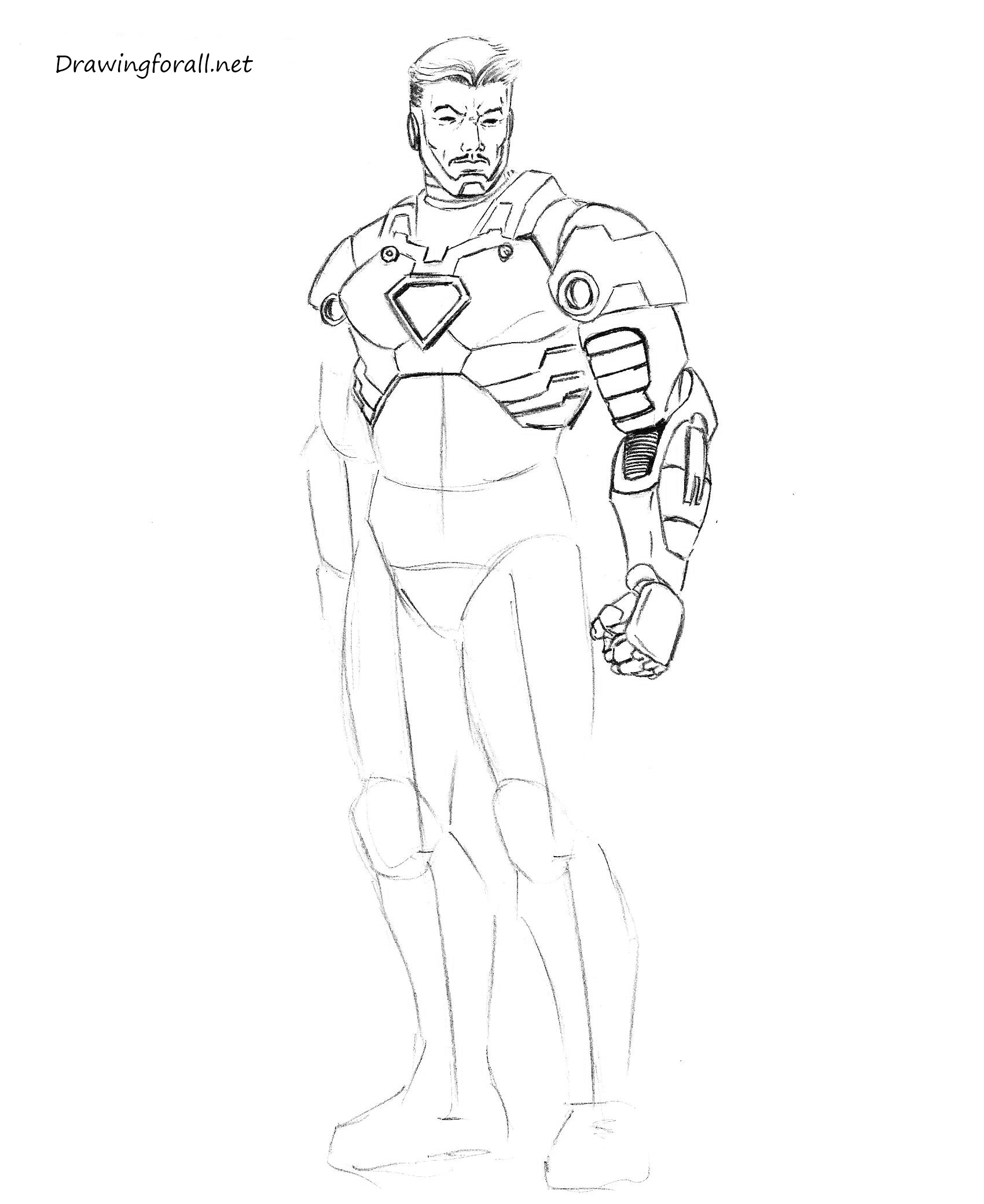 How to draw iron man step by step by pencil