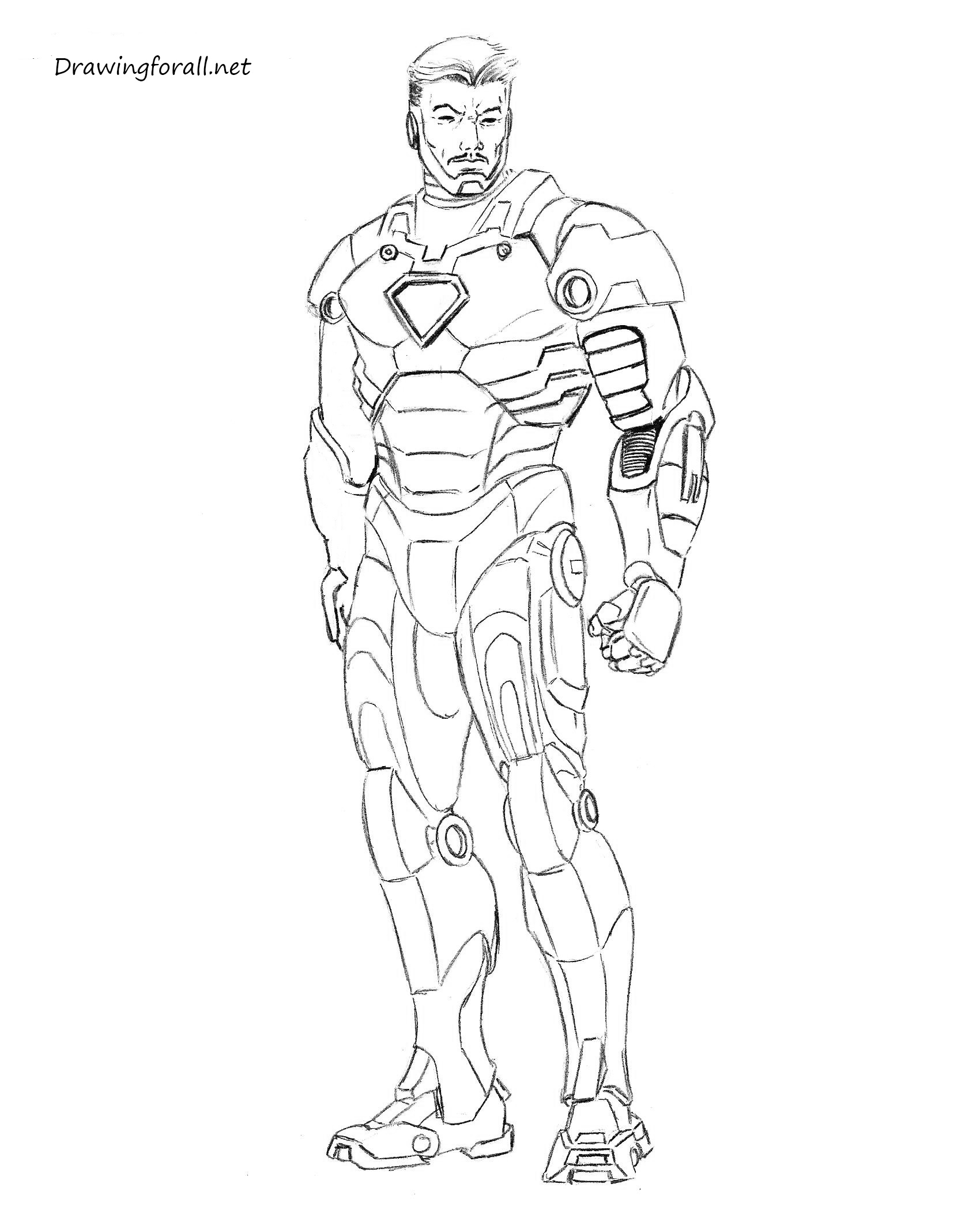 Line Drawing Man : How to draw iron man step by drawingforall