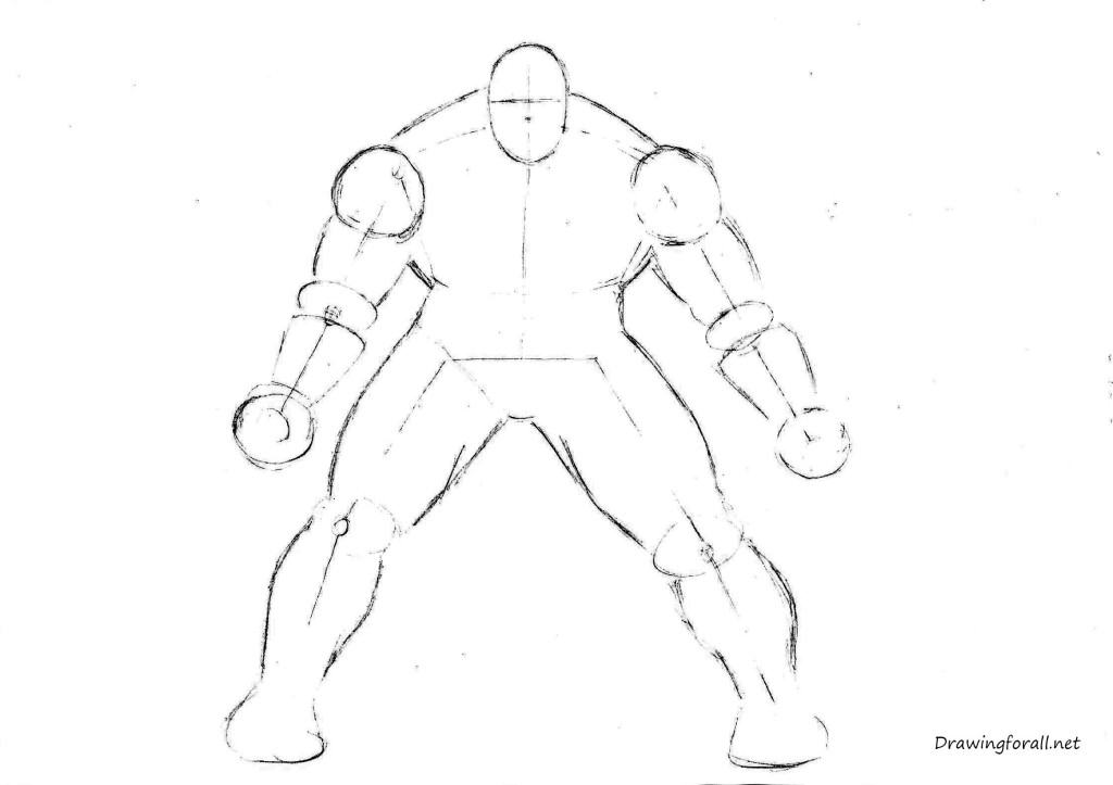 how to draw the Hulk step by step