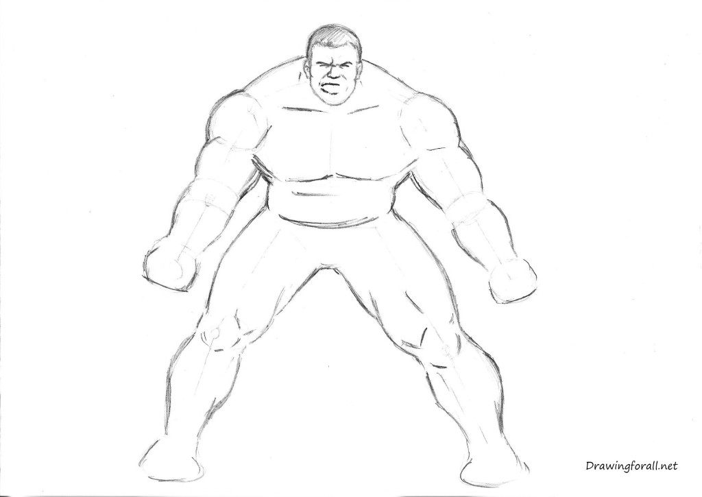 how to draw the Incredible Hulk step by step