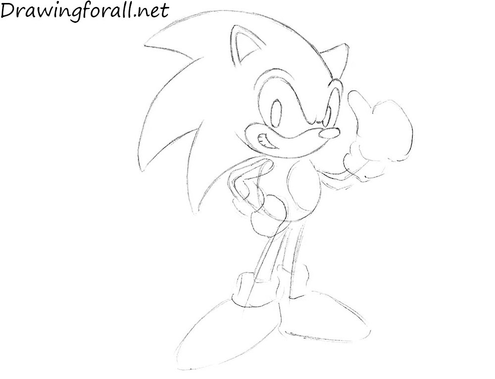 How to Draw Sonic the Hedgehog with pencil