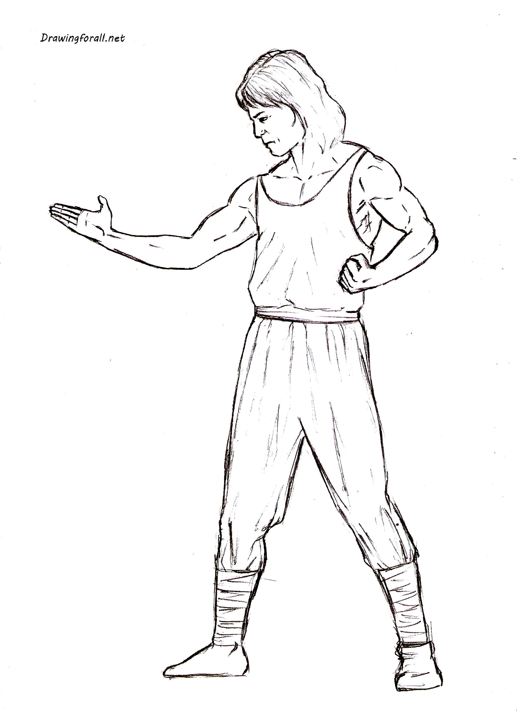 How to draw Liu Kang step by step
