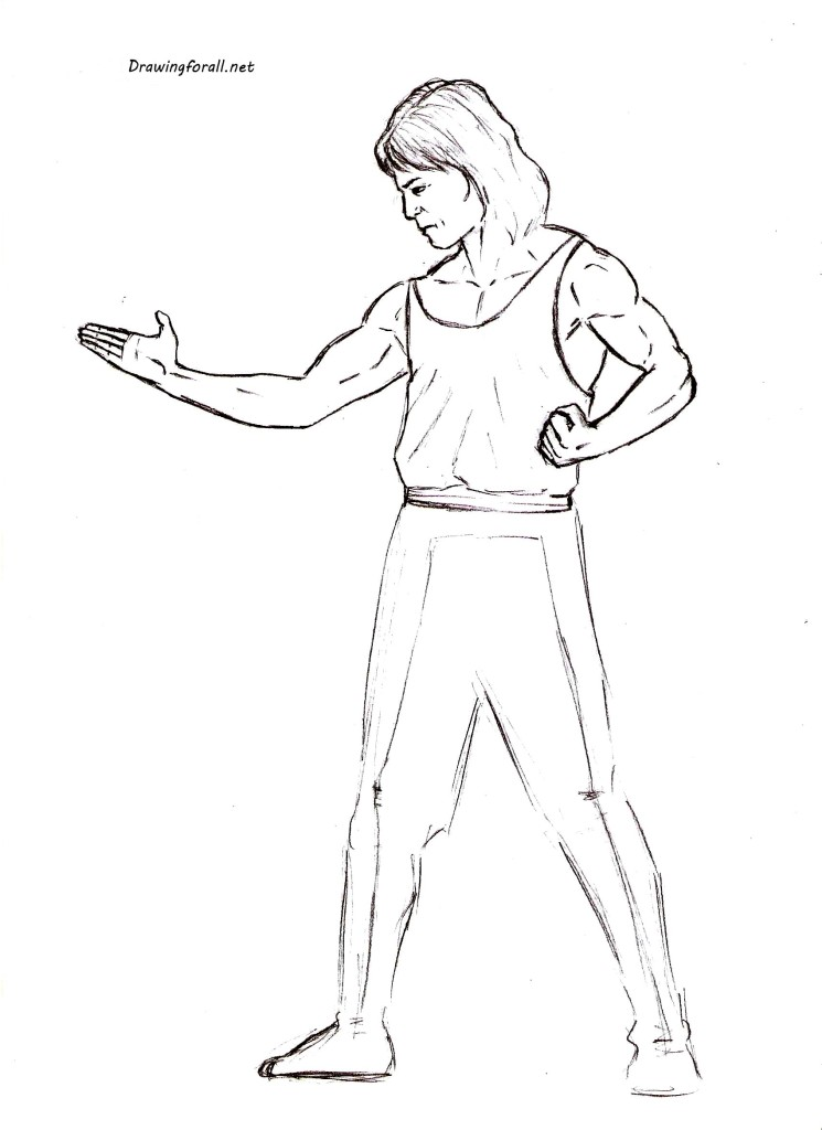 How to draw Liu Kang  step_Mortal Kombat