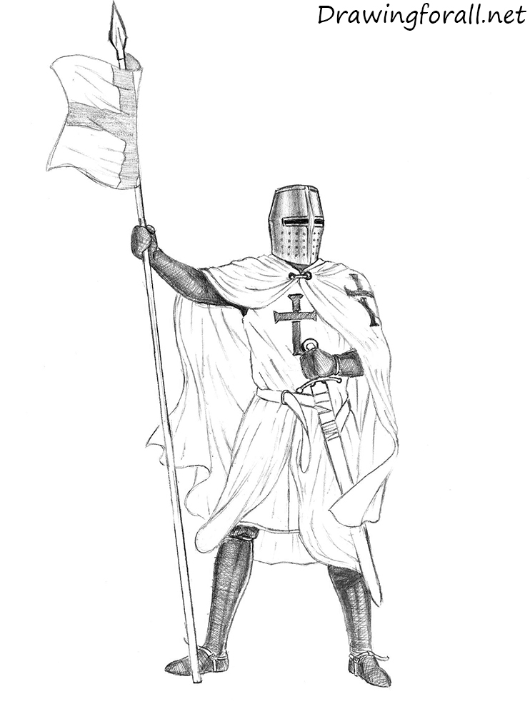 Detailed Line Drawing Knight