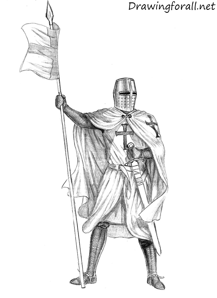how to draw a knight with a pencil