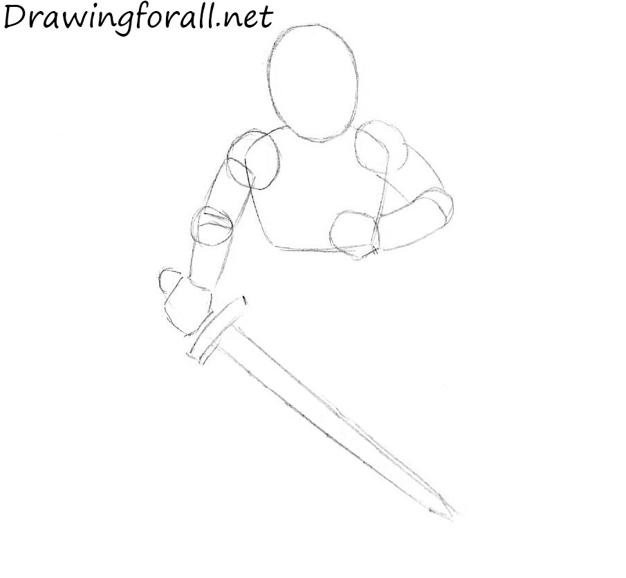 how to draw a cartoon knight step by step