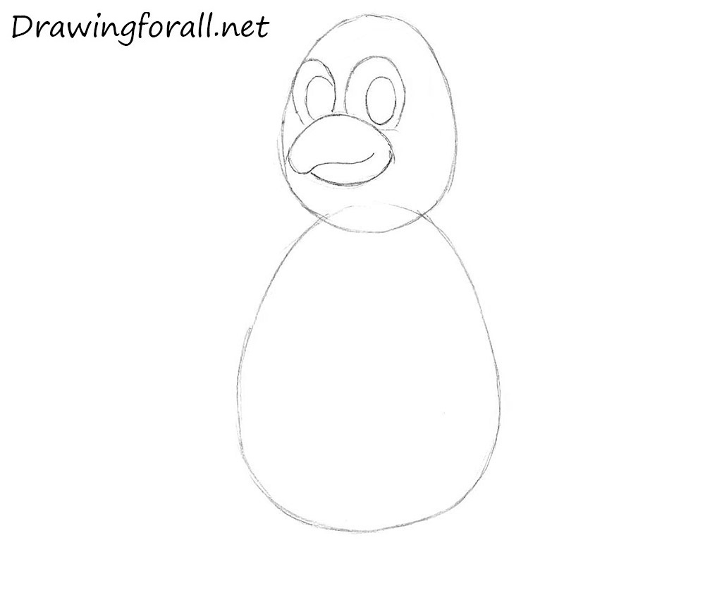 how to draw a cartoon penguin for kids