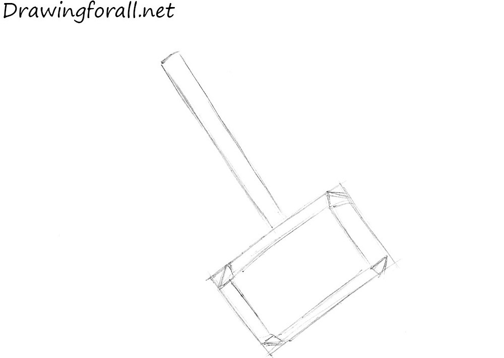 how to draw a mjolnir step by step