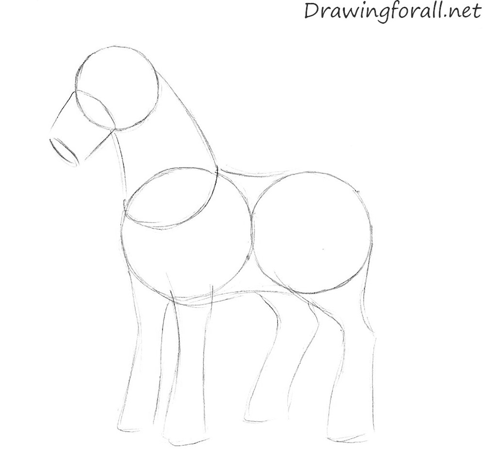 how to draw a cartoon horse for kids
