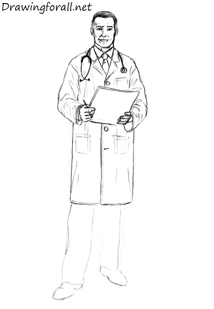 Line Drawing Of A Doctor : How to draw a doctor drawingforall