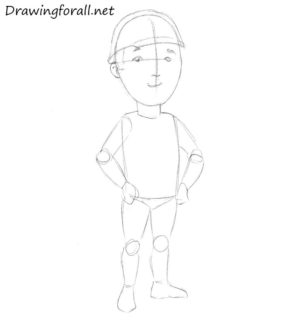 how to draw a builder for children