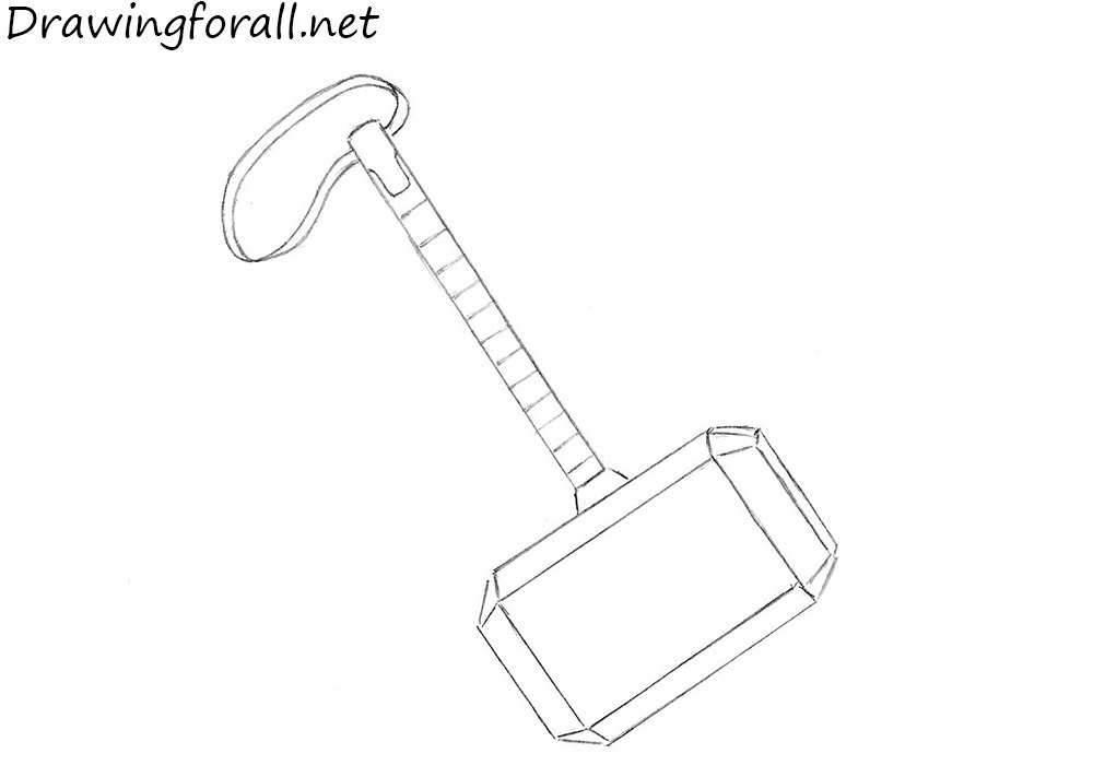 how to draw a mjolnir step by step