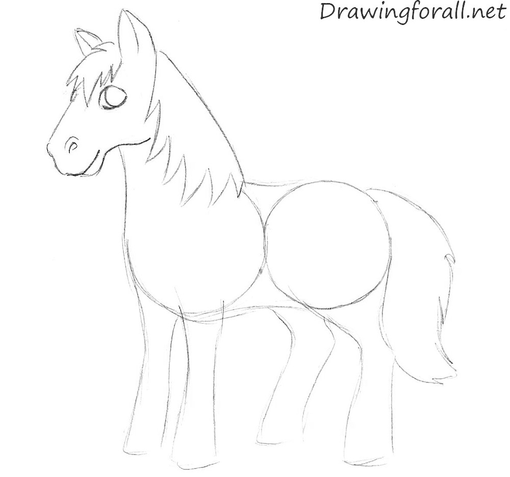 how to draw a cartoon horse step by step
