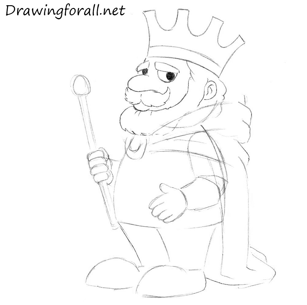 how to draw a cartoon king step by step