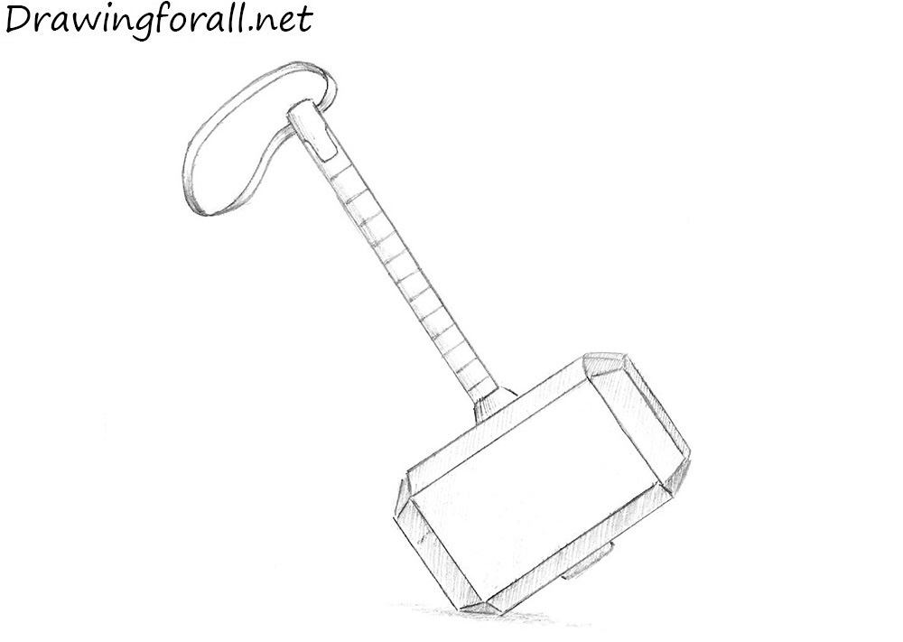 how to draw a mjolnir