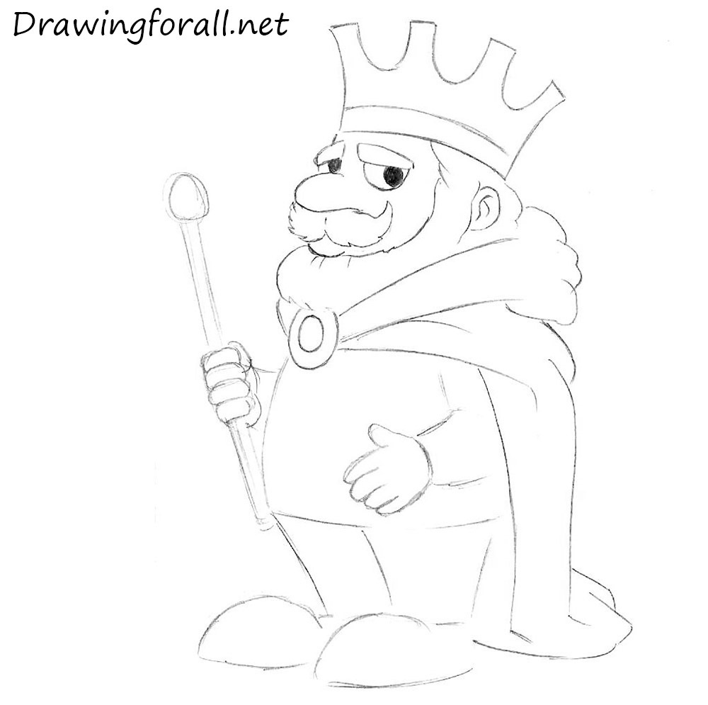 how to draw a cartoon king