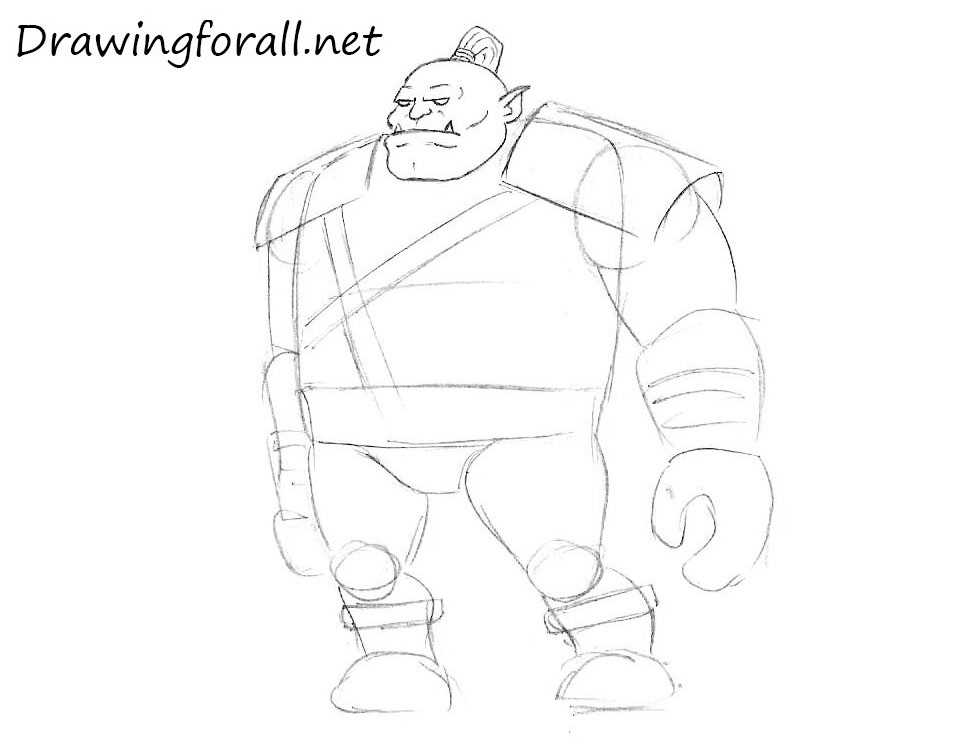 how to draw a cartoon orc step by step