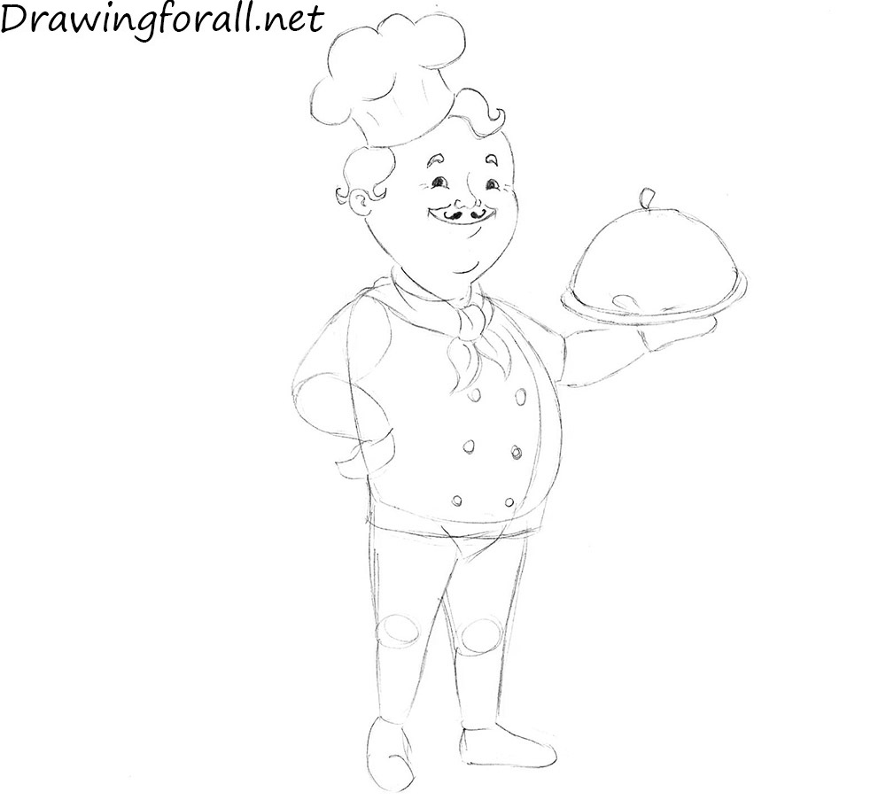 how to draw a cook for kids