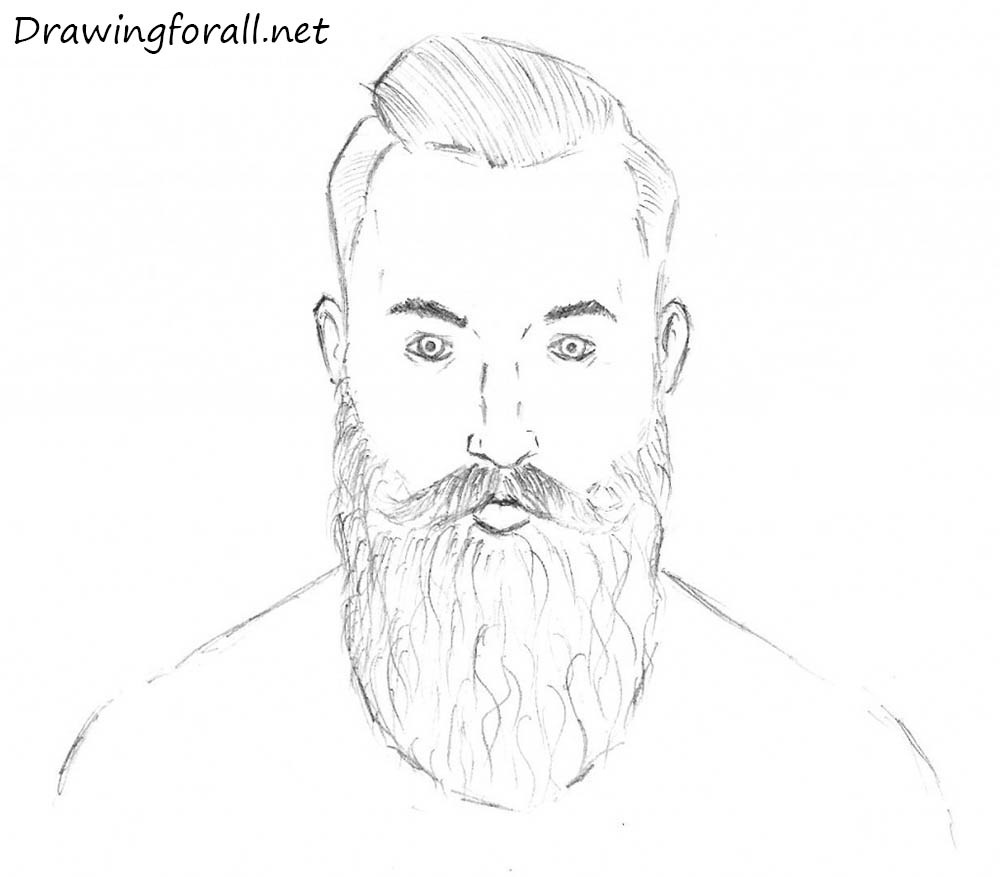 How to draw a bearded man