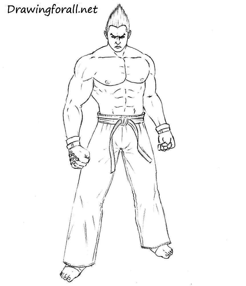 how to draw kazuya mishima