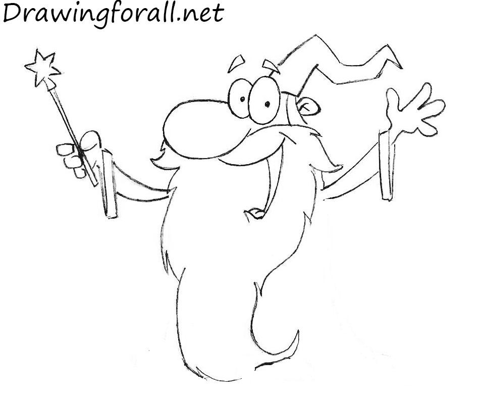 how to draw a cartoon  wizard
