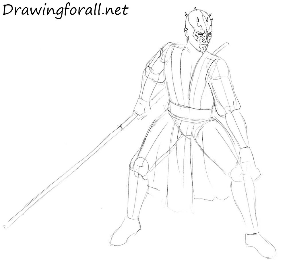 how to draw darth maul step by step