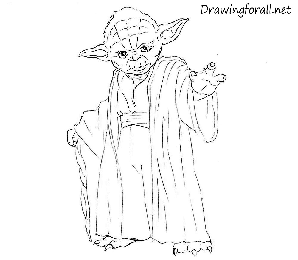 Line Drawing Yoda : How to draw yoda step by drawingforall