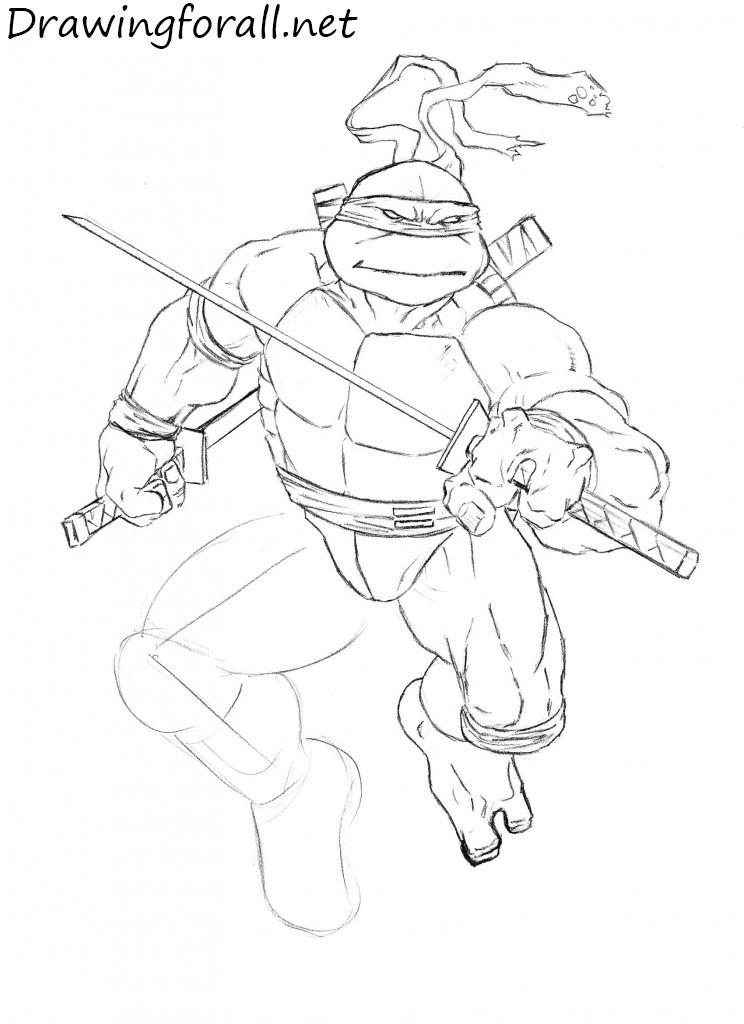 how to draw teenage mutant ninja turtles with a pencil