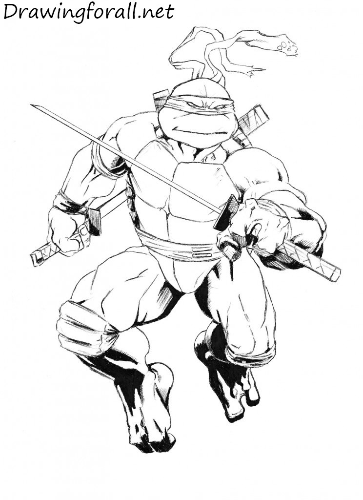 how to draw leonardo from tmnt drawingforall net