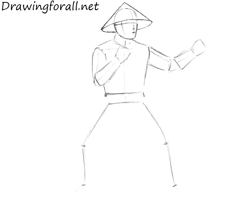 how to draw raiden from Mortal Kombat step by step