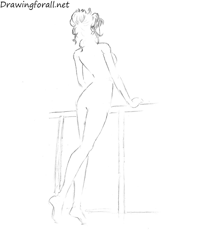how to draw a girl from back