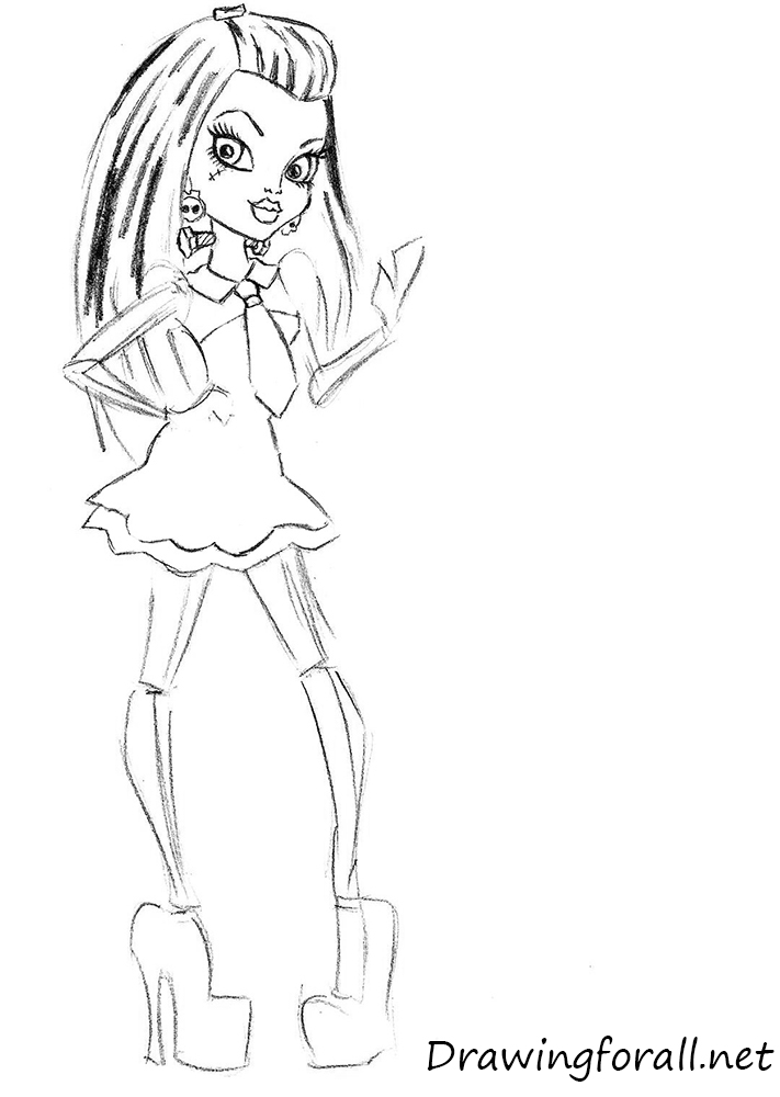 how to draw monster high frankie