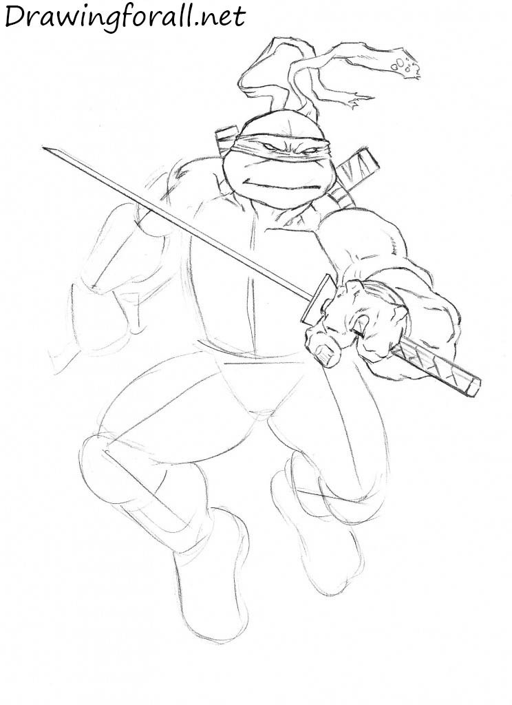 how to draw leonardo from tmnt drawingforall net