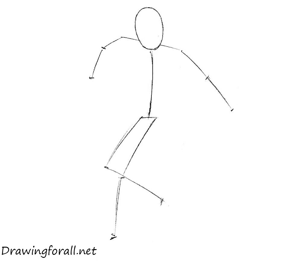 How to draw the freestyle footbag player step by step
