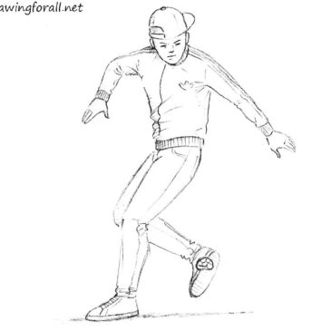 How to draw the freestyle footbag player