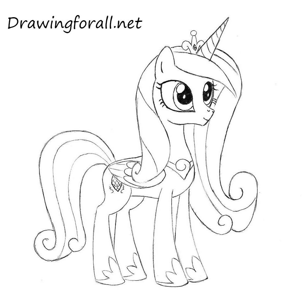 Celestia Kleurplaat My Little Pony How To Draw Princess Cadence Drawingforall Net