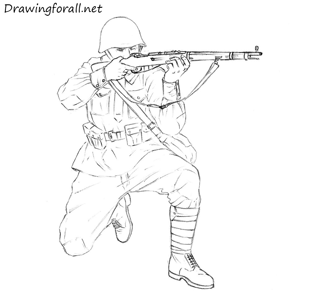 how to draw a mosin nagant