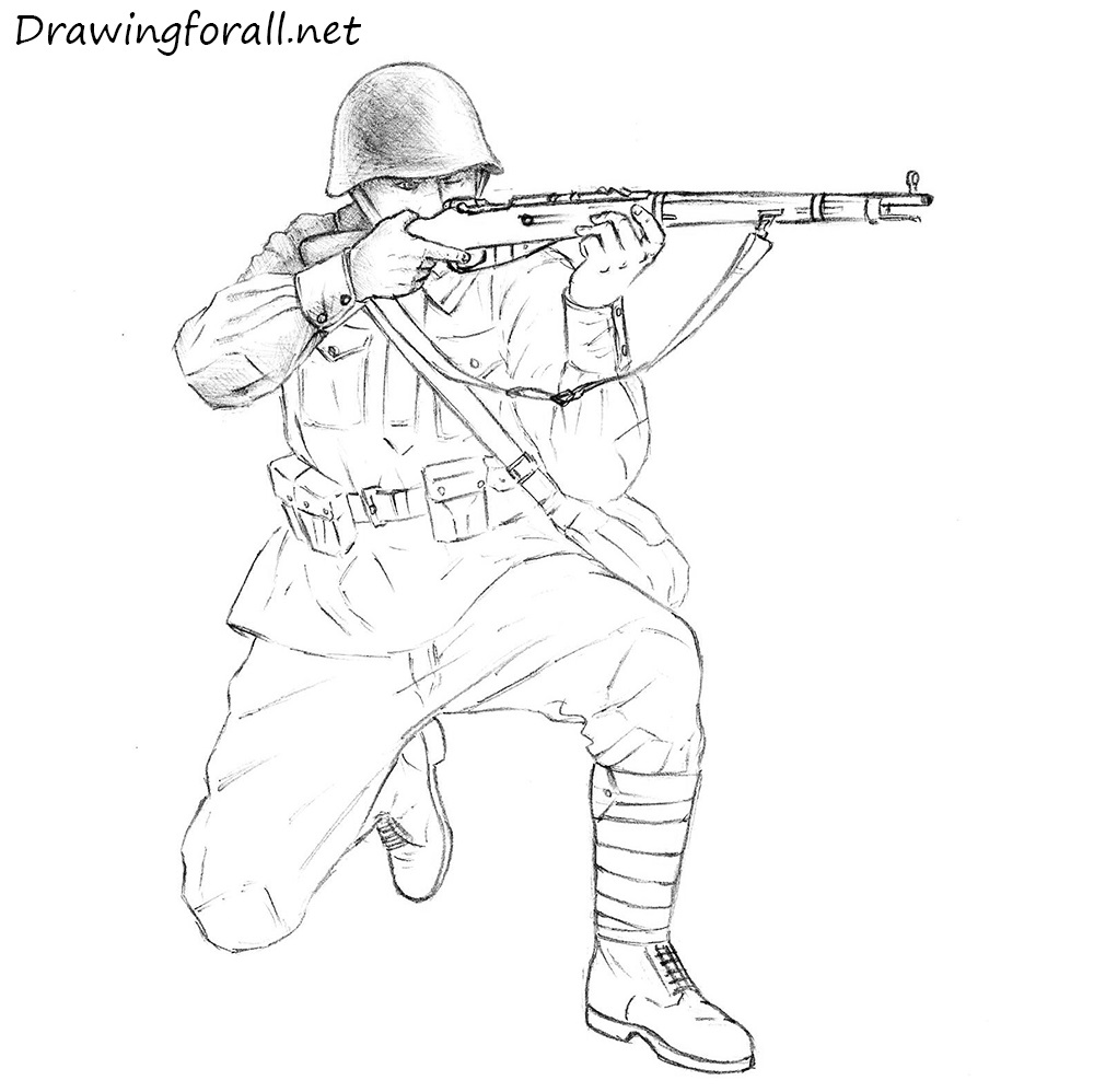 How to Draw a Soviet Soldier | DrawingForAll.net