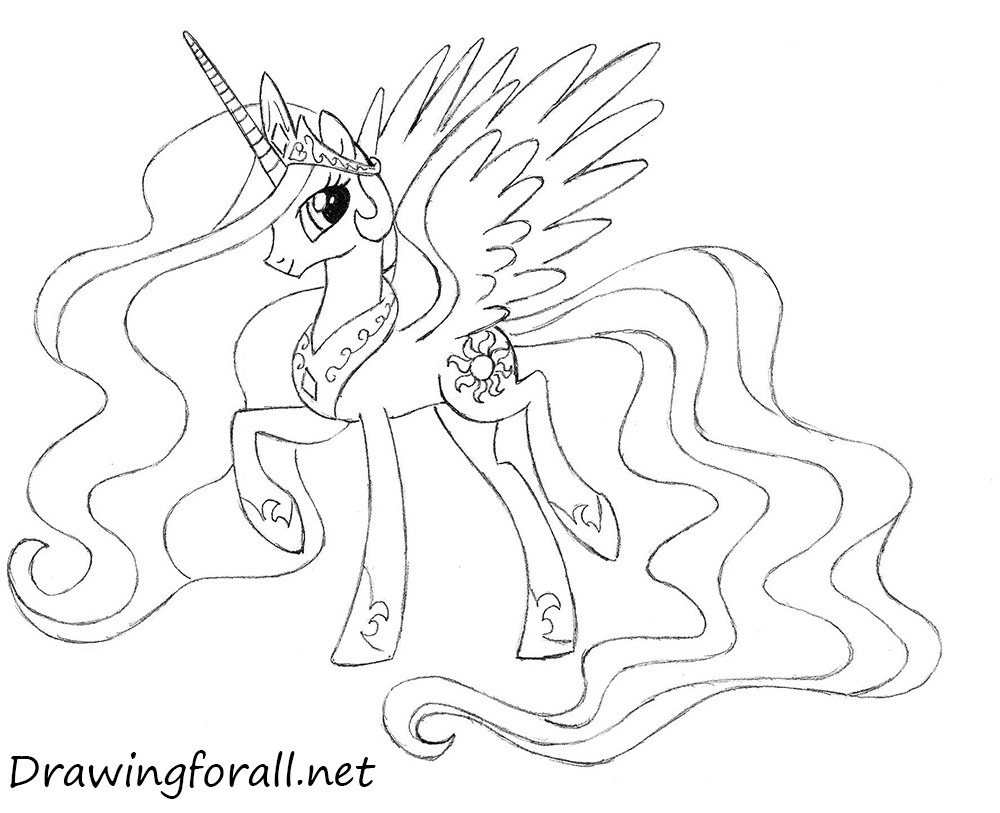 How To Draw Princess Celestia on my little pony nightmare rarity