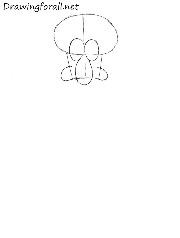 how to draw squidward step by step