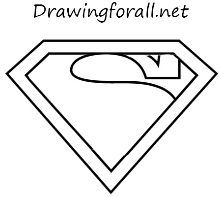 The superman logo drawing
