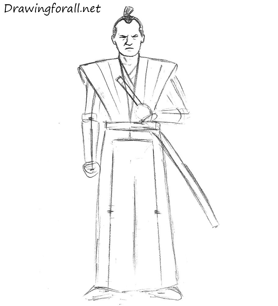 how to draw a samurai easy