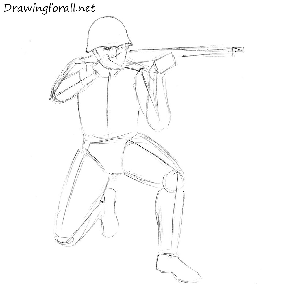how to draw a soviet soldier with a pencil