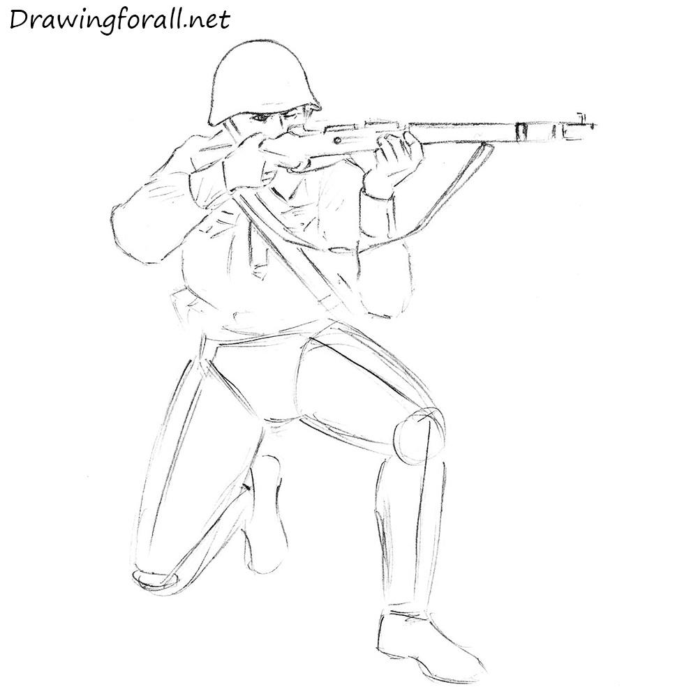 how to draw a soviet soldier step by step