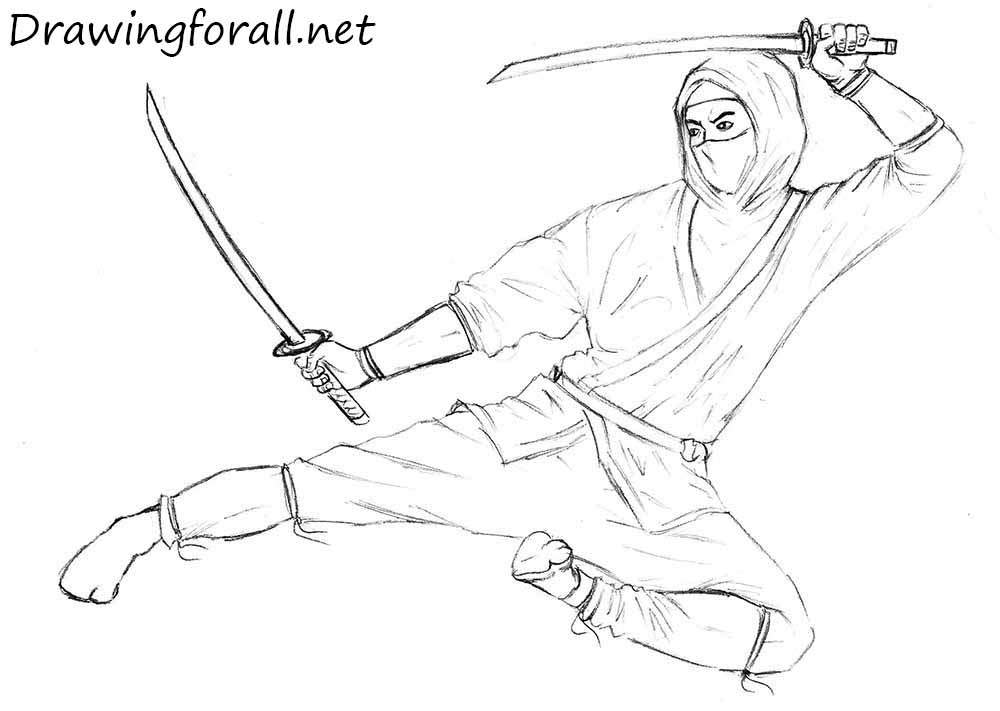 how to draw a ninja drawingforallnet