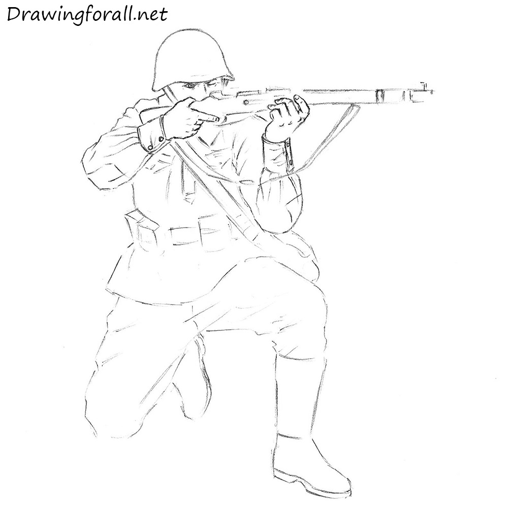 how to draw ww2 soldier
