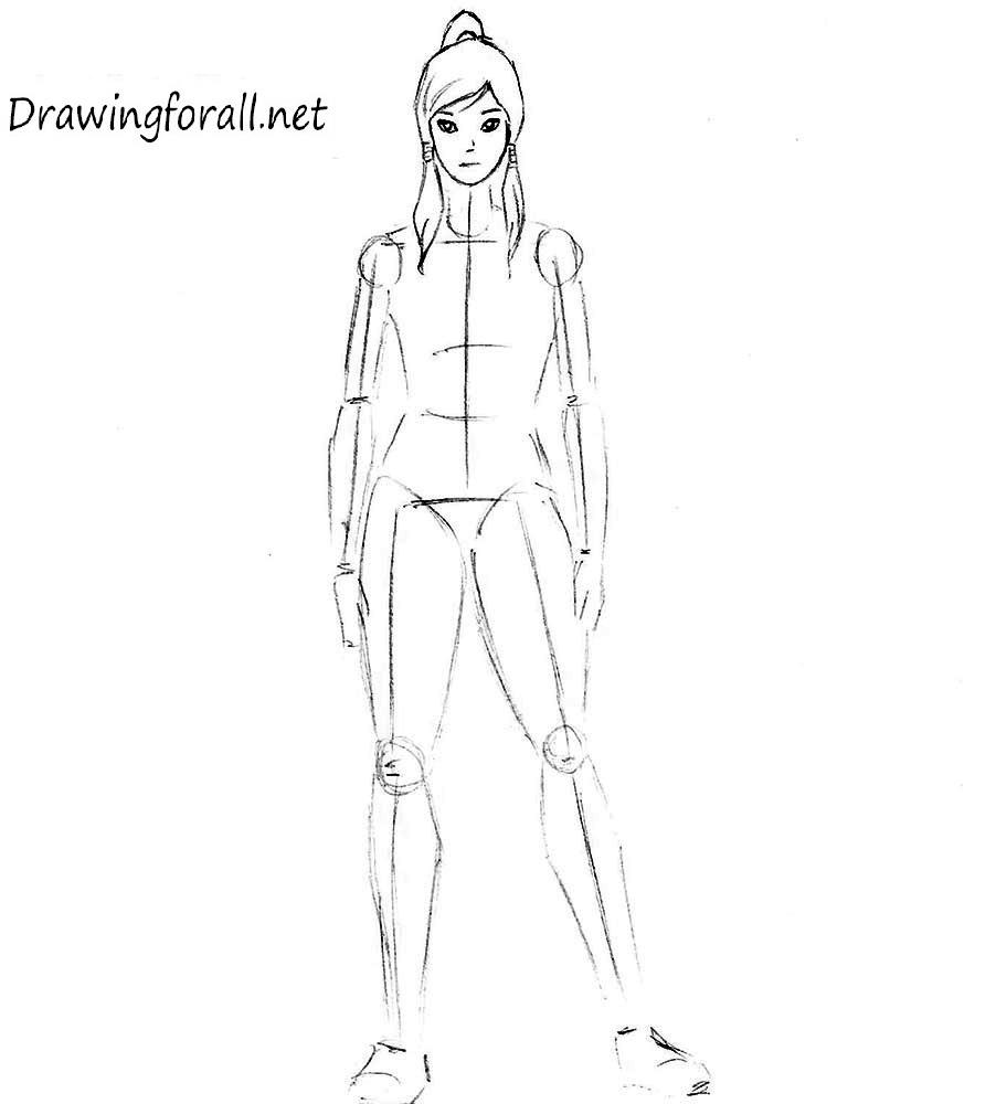 how to draw korra step by step