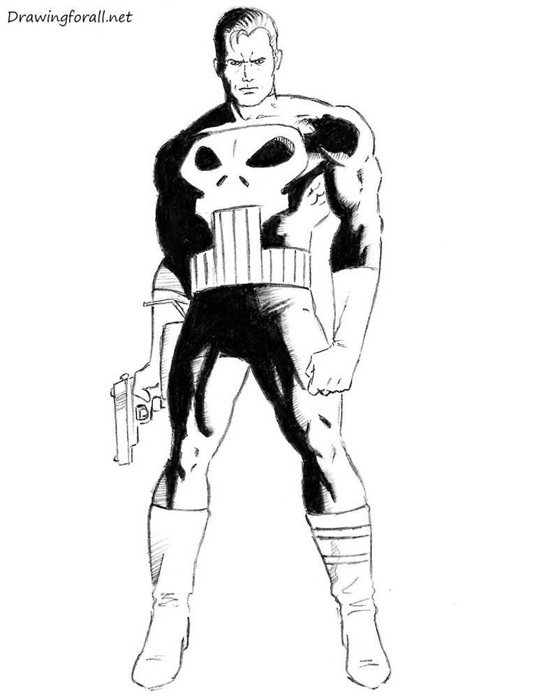 how to draw punisher step by step