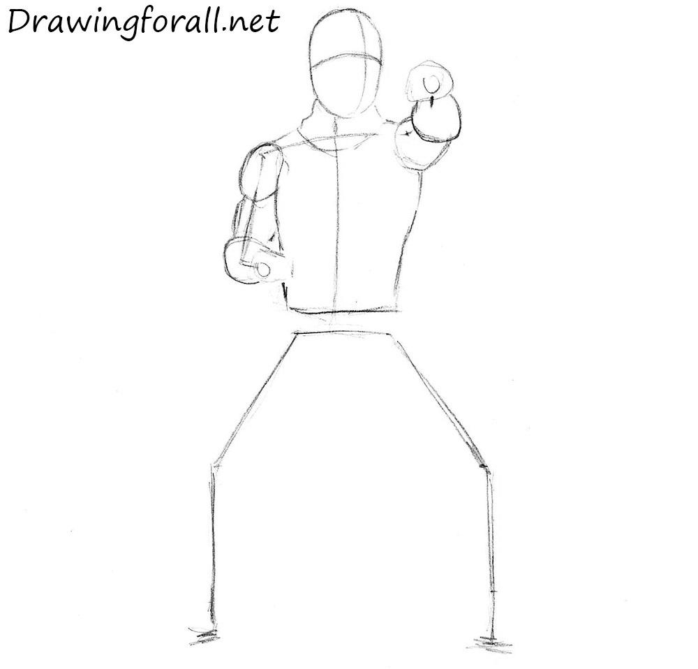how to draw a ninja from Mortal Kombat